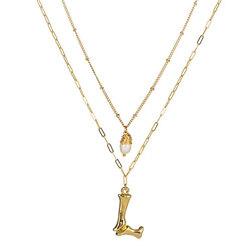 DGSDFGAH Necklace Women Cubic Zirconia Initial Double Layer Necklace Pendant Stone Ladies Necklace Fashion Tiny Pearl L Initial A-Z Letter Choker Necklace For Women Gifts For Women Elegant Gift Box
