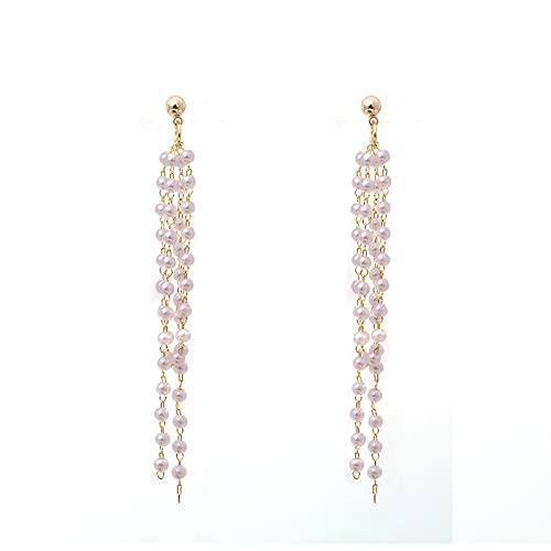 S925 pendientes de borla de perlas largas de aguja de plata pendientes nuevos de super hada simple clip de oreja hembra A