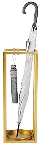 Moderner Regenschirmhalter / Innenschirmständer aus Metall, Eisenplatz, mit Haken, Gehstock, Memory Schirmständer, goldfarben