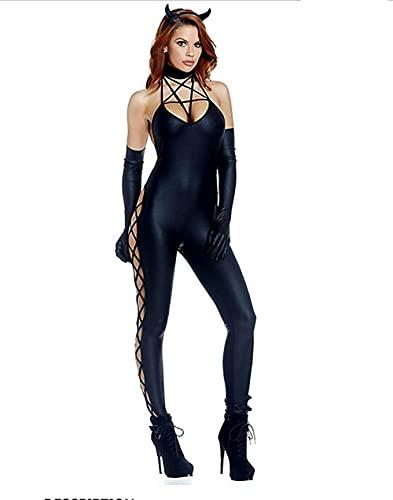 DAGCOT Halloween Sexy Femelle Batman Costume Cosplay Fun Jeu Uniforme Catsuit Look Humide Latex Noir Discothèques Vêtements-Le Noir_M