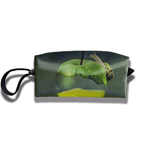 Portable Pencil Bag Cosmetic Pouch Snail on A Green Apple Stationery Purse Purse Storage Organizer