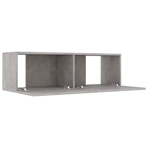 Kshzmoto Mueble con Soporte para TV Mueble de TV Mueble de Almacenamiento con Banco de TV con 2 estantes para Sala de Estar 100x30x30 cm, Gris Concreto