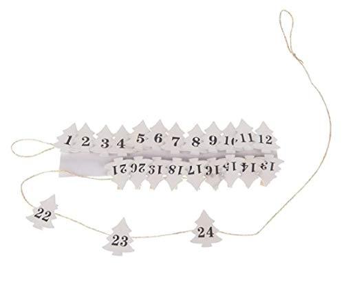 Decpero adventskalender slinger met dennenboom houten klemmen 1-24 wit