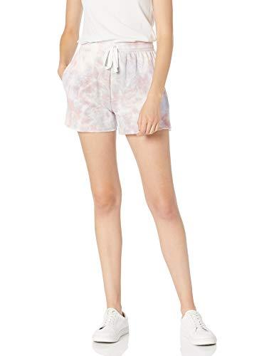 The Drop Damen Michaela Shorts aus Fleece mit seitlichen Schlitzen, Lavendelfarben mit Batikfärbung, 3X