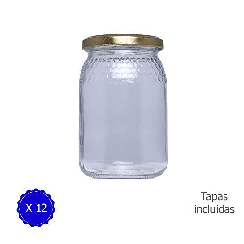 Tarros de Cristal para Miel 380ml 1/2 Kilo tarros para Miel con Cierre hermético/Pack de envases para Miel con Tapas Incluidas .Tarro para Miel con Grabado de celdillas en El Vidrio.(12 Unidades)