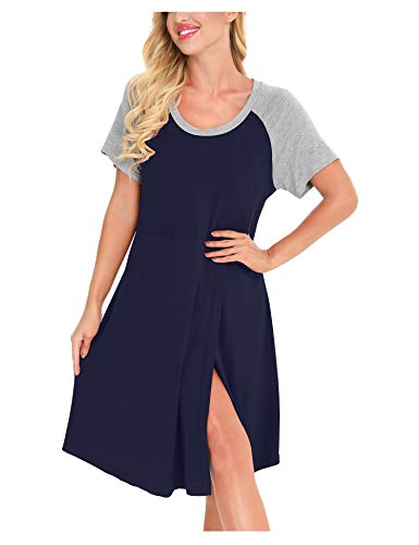 MiiKARE Kurzarmkleid Umstandskleid für Damen, Bromoco Nachthemd,Schlafanzug,Schwangerschaftskleid zum Stillen