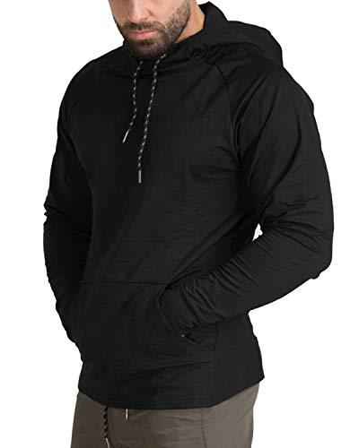 MODCHOK Homme Pull à Capuche Léger T- Shirt Manches Longues Sweat-Shirt Hoodie Pullover 3 Noir XL