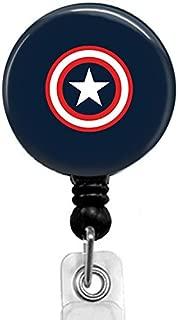 Captain America Badge Reel,Retractable Name Card Badge Holder with Alligator Clip, Medical MD RN Nurse Badge ID