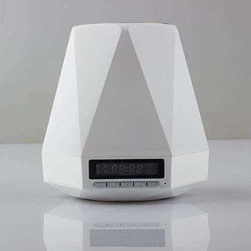 QIXIAOCYB Tragbare drahtlose Lautsprecher Bluetooth- Schreibtischlampe Bluetooth drahtloser Lautsprecher LED Nachtlicht intelligente Nachttischlampe Uhr Alarm-Raven_ 9 0mm * 105mm. Mit Alexa- Stimme