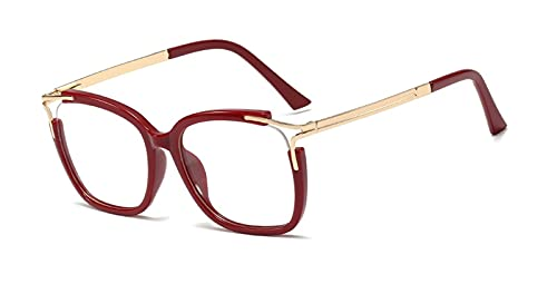Cat Square Eye Anti-Blue Glasses Ultra-Light Marco Mujeres Mujeres Moda Óptica Gafas De Computadora 2021 Moda De Diseño De Marca (Frame Color : C6 red)