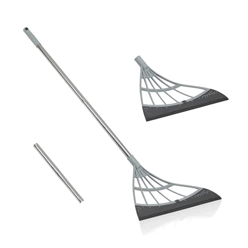 PLLITH Magic Broom, 2 in 1 Sweeper Easily Cleans The Floor Surface & Remove Dirt and Hair, with Squeegee & Telescoping Handle That Extends from 2-4FT for Kitchen Bathroom Toilet Cleaning Tools, Grey