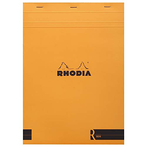 """Rhodia""""R"""" Premium Stapled Notepad - Lined 70 sheets - 8 1/4 x 11 3/4 - Orange Cover"""