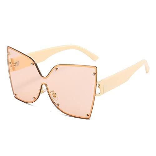 U/N Gafas de Sol de una Pieza de Gran tamaño para Mujer, gradiente de Moda, Azul, Rosa, Gafas de Sol para Mujer, Plano, Elegante, Sombra-3