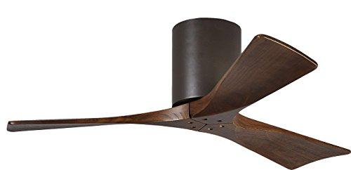 "Matthews IR3H-TB-WA-42 Irene Indoor/Outdoor Damp Location 42"" Hugger Ceiling Fan with Remote & Wall Control, 3 Wood Blades, Textured Bronze"