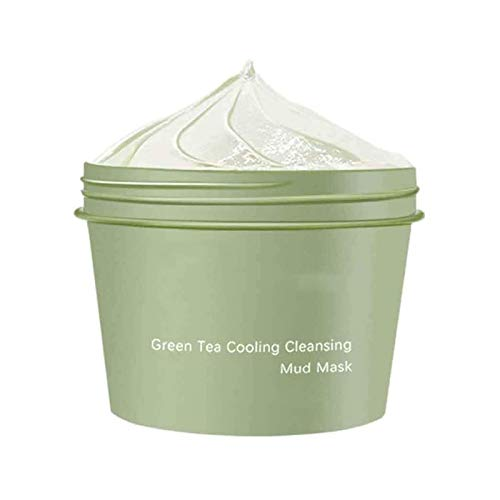 HTYA Green Tea Cooling Cleansing Mud Mask, with Anti Ageing Effects Deep Pore Cleansing & Blackhead Remover Mud Mask, Pore Minimizer, Hydrating and Moisturizing Face Cream 1 PC