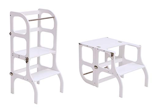 Lernturm/Tisch/Stuhl alles in einem Hocker/Montessori Learning tower, kitchen helper step stool - WHITE color/SILVER clasps