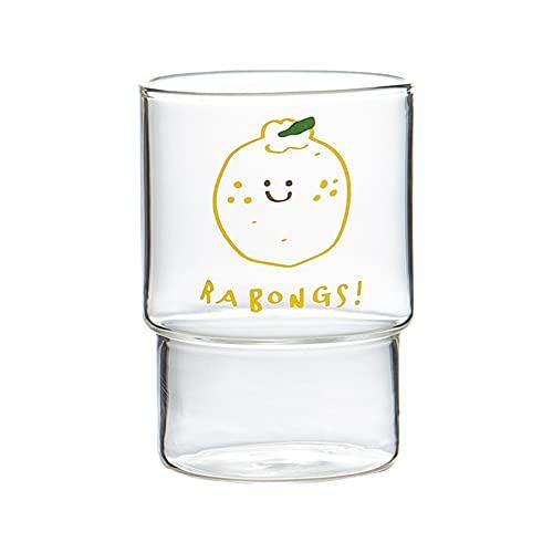 Renococo Bella tazza di vetro modello arancione Bicchieri ad alta resistenza al calore in borosilicato Tazza da colazione Tazza da tè Tazza da caffè