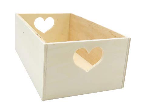 Caja de Madera con Asas en forma de Corazón Práctica Cesta guarda todo Abierta para Útiles de Hogar Cajón Organizador de Oficina Ideal escritorio color natural para decorar a su gusto y regalar (20cm)
