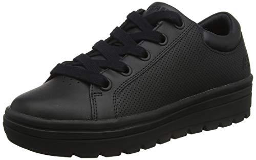 Skechers Women's Low-Top, Black (Black Leather/Duraleather Trim #Yellow BBK), 8.5 us