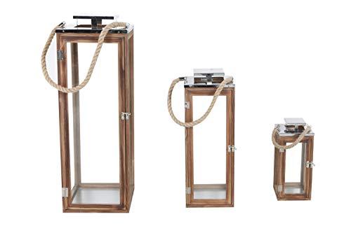 INDA-Exclusiv Juego de 3 farolillos de jardín de madera con techo de acero inoxidable, farolillos de madera maciza, 14 x 14 x 31 cm + 19 x 19 x 51 cm + 70 x 24 x 24 cm