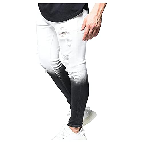 BIBOKAOKE Herren Jeans Slim fit, Tie Dye Printed Skinny-Jeans Denim Herrenjeans Lässige Jeans Casual Reißverschluss Enge Denimhosen Jeanshose Stretch-Denim Männer Jeans-Hose Denim Pants