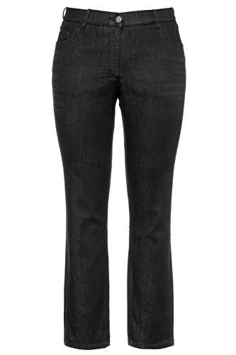 Ulla Popken Damen Sammy, Slim, Komfortbund, 5-Pocket Jeans, Black, (Herstellergröße:50)