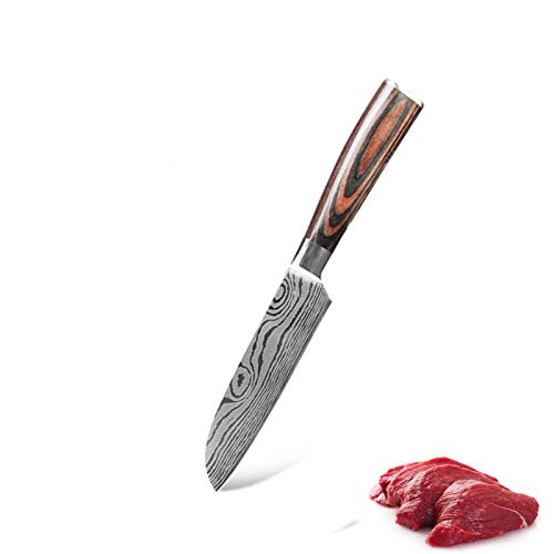 Juego de cuchillos de chef japonés 3 PCS Damasco patrón de acero Cuchillos de cocina Conjuntos de cuchillas Pelación Santoku Utilidad de corte juego de cuchillos de cuchillo