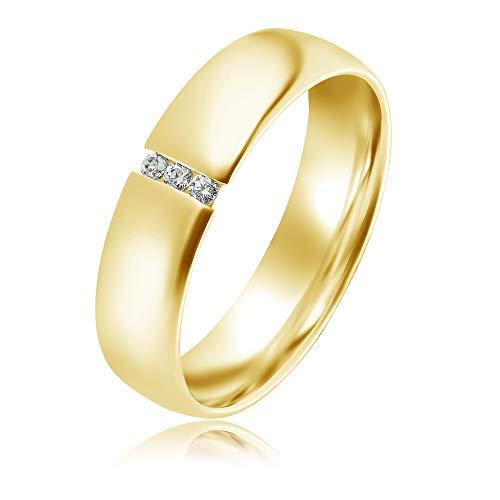 Verlobungsring 333 9 Karat Gelbgold Gold Ring Antragsrings Größen von 48 bis 62 Spannring mit 3 Zirkonia (Gold, 49)