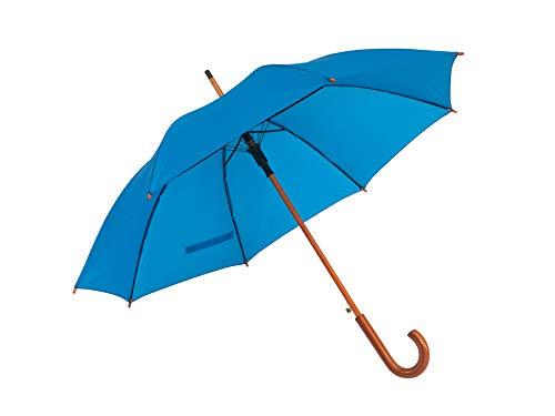 Automatik Regenschirm Holzschirm Stockschirm Portierschirm mit gebogenem Rundhaken Holzgriff in 103 cm Durchmesser von notrash2003 (Royalblau)