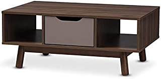 Baxton Studio Britta Storage Coffee Table in Walnut Brown and Gray