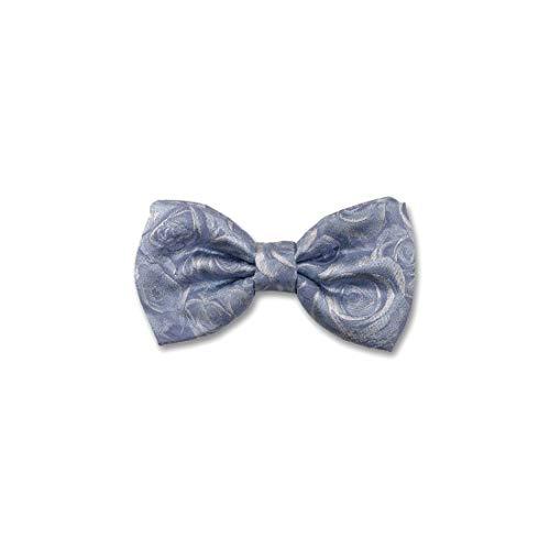 Robert Charles. Noeud papillon noué. Roses, Soie. Bleu, Motifs. Fabriqué en Italie.