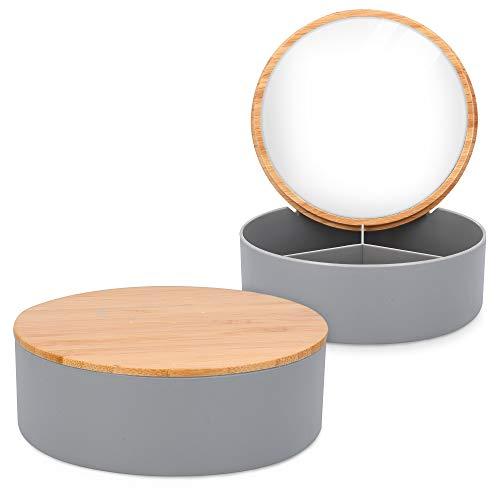Navaris Joyero de bambú con espejo - Caja de Ø 14 x 5 CM para almacenamiento de joyas bisutería collares adornos anillos pendientes y pulseras