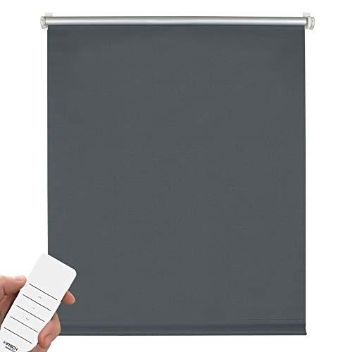 Kirsch Innovation Elektrisches Verdunklungsrollo für Fenster, Klemmfix ohne Bohren, Rollo mit Akku, Thermorollo lichtundurchlässig, Hitzeschutz – 45x150 cm Schiefer - Klemmträger