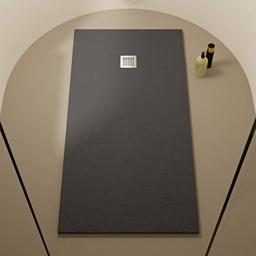 Ägäisches Harz-Duschwanne 100 x 140 - Schiefer und rutschfeste Struktur - Superflache Duschwanne - Alle Größen verfügbar - Inklusive Siphon und Gitter - Basalt RAL 7015