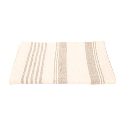 LinenMe Serviette de Bain, 70 x 130 cm, Motif œil-de-Perdrix, Collection Linum, Crème