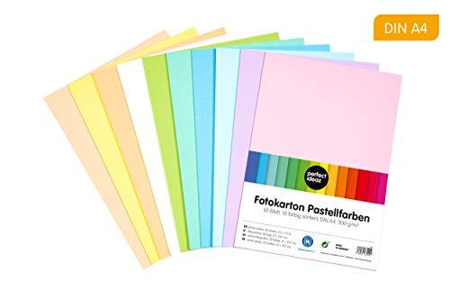 perfect ideaz 50 Blatt DIN-A4 Pastell Foto-Karton bunt, Bastel-Papier, Bogen durchgefärbt, 10 verschiedene Light-Farben, 300g/m², Ton-Zeichen-Pappe zum Basteln, buntes Blätter-Set farbig, DIY-Bedarf