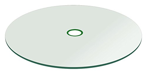 "Fab Glass and Mirror 48 Patio Round 1/4' Thick Tempered Flat Edge Polish with 2"" Inch Hole Glass Table Top, 48 Inch, Clear"