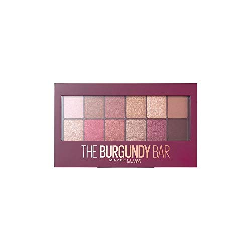 Maybelline New York Lidschatten Palette, The Nudes Palette, 12 Farben, The Burgundy Bar