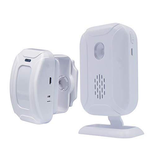 Wireless PIR Motion Sensor Detector Security Alarm Chime,Shop Store Office Home Front Door Entry Welcome Doorbell,Mailbox Alert, Garage Driveway Alarm,with Night Light (1 Receiver and 1 PIR Detector)