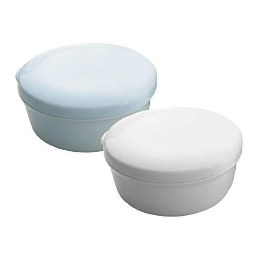 TOPBATHY 2 Piezas Caja de jabón contenedor escurridor Redondo Caja de Almacenamiento de jabón de plástico con Tapa para baño Ducha Viaje a casa (Azul Blanco)