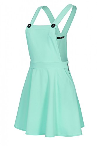 Laeticia Dreams - Vestito scamiciato da donna, gonna a salopette, effetto jeans, XS S M L XL verde menta 44