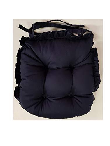 Twill - Cuscini per sedia, extra spessi e spessi, stile vintage con volant – 100% cotone, colore a scelta Marina Militare