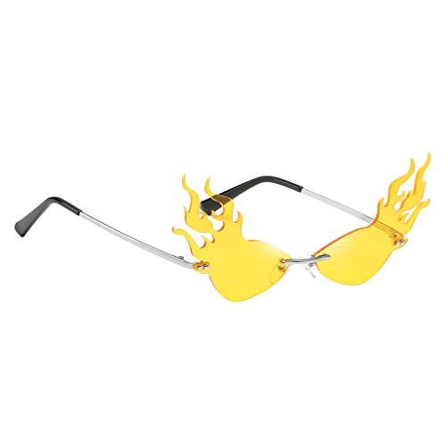 B Baosity Gafas de Sol con Forma de Fuego para Hombre Gafas de Sol UV400 Diseño de Lujo Rave Club Eyewear - Amarillo, Talla única