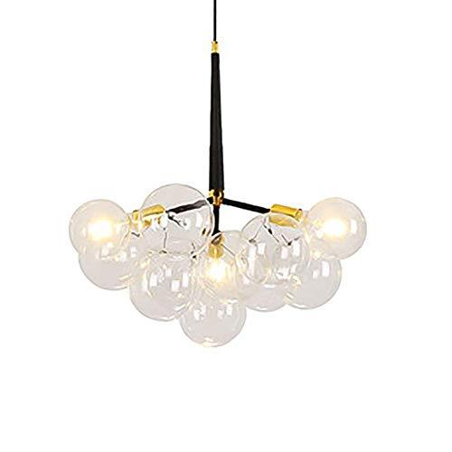 Suytan Candelabro Sputnik de Bola de Cristal Postransparente, Luz Colgante E27 de 3 Luces, Iluminación Colgante de Latón Cepillado, Lámpara de Luz de Techo Starburst, Dorado, 6 Cabezas,3 Cabezas