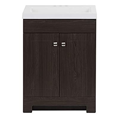 """Spring Mill Cabinets Wharton 24.5"""" 2-Door Transitional Bathroom Vanity in Woodgrain Finish with Adjustable Hinges, Integrated White Sink Top"""