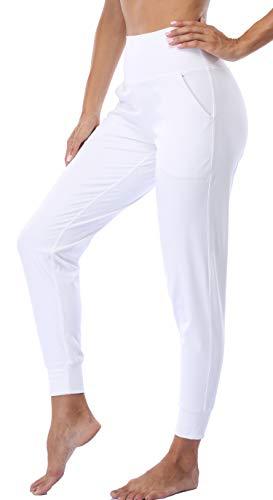 Oalka Women's Joggers High Waist Yoga Pockets Sweatpants Sport Workout Pants White S