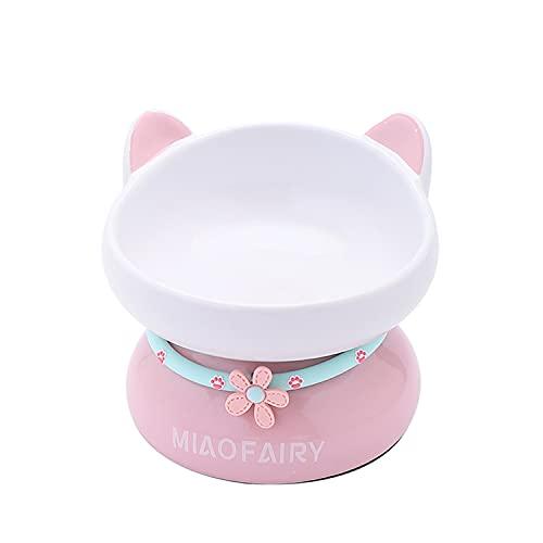 猫 食器 陶器 猫用フードボウル 猫の頸椎を保護 嘔吐を防ぐ 15度の傾斜 食べやすい ご飯 皿 食器台 滑り止め 3色 小型犬猫 ペット用食器 ボウル (ローズピンク)
