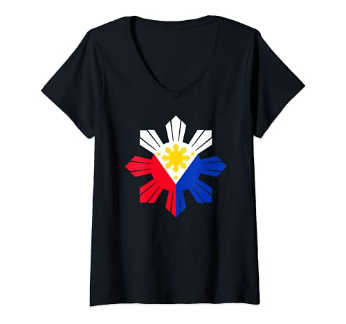 Womens Philippine Flag Pinoy Flag Filipino Pinoy Three Stars Sun V-Neck T-Shirt