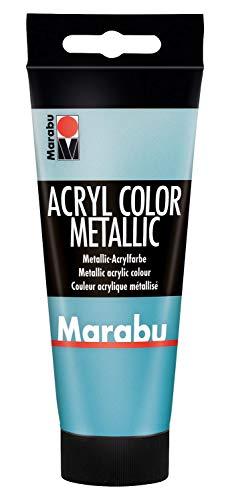 Marabu 12010050792 - Acryl Color metallic petrol 100 ml, cremige Acrylfarbe auf Wasserbasis, schnell trocknend, lichtecht, wasserfest, zum Auftragen mit Pinsel und Schwamm auf Leinwand