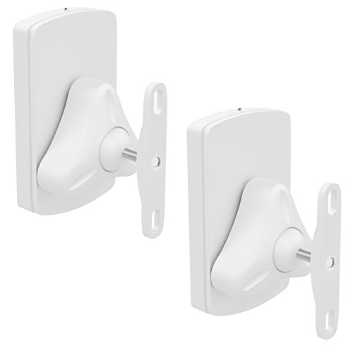 deleyCON 2X Universal Lautsprecher Wandhalterung Set Halterung Boxen Halter Schwenkbar + Neigbar bis 10Kg Deckenmontage + Wandmontage - Weiß